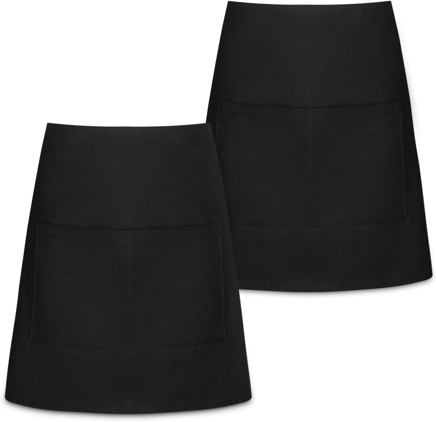 Syntus 2 Pack 2 Pockets 100% Cotton Waitress Waist Apron, 18 x 28 inch Black