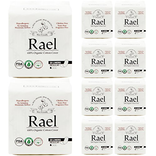 - Rael Certified Organic Cotton Pantyliners 10 Pack/ 200 total (Regular Liners) (Panty Liner Regular Cotton)