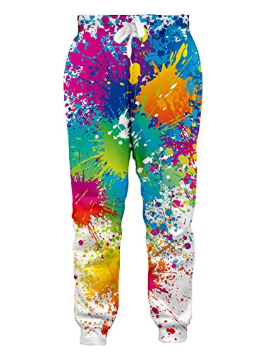 RAISEVERN Unisex Joggers Pants Colorful Paint Printed Sweatpants Rainbow Graffiti Gym Trousers with Pocket for Men Women