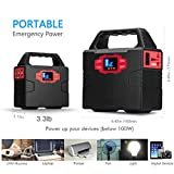 100-Watt Portable Solar Generator Power Inverter, 40800mAh 150Wh Li-on Battery UPS Power Supply Charged by 100 Watt Solar Panel/Wall Outlet/Car with Dual 110-240V AC Outlet, 3 DC 12V Ports, USB Ports