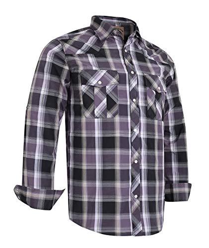 Coevals Club Men's Long Sleeve Casual Western Plaid Snap Buttons Shirt (2XL, 1# Gray, Balck)