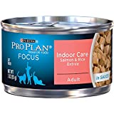 Purina Pro Plan Wet Cat Food, Focus, Adult Indoor Care Salmon and Rice Entrée, 3-Ounce Can, Pack of  24