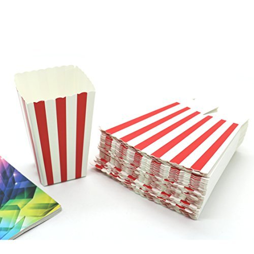 50Pack Striped Paper Popcorn Boxes for Party Favor Supplies By IDS