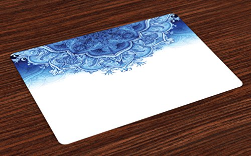 Lunarable Moroccan Place Mats Set of 4, Floral Artwork Vintage Style with Eastern Architectural Elements Oriental Pattern, Washable Fabric Placemats for Dining Table, Standard Size, White Blue