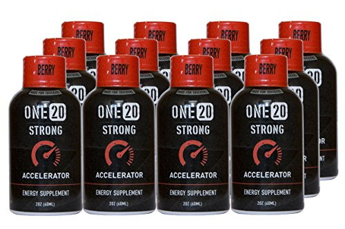 ONE20 Strong Energy Shot Zero Sugar and Calorie Energy Drink, Berry Accelerator (12 count, 2 oz Bottles)
