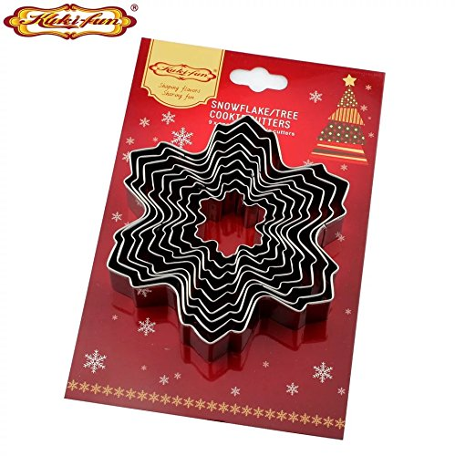 Set of 9 Nesting Stainless Steel Snowflake Cookie Cutters -
