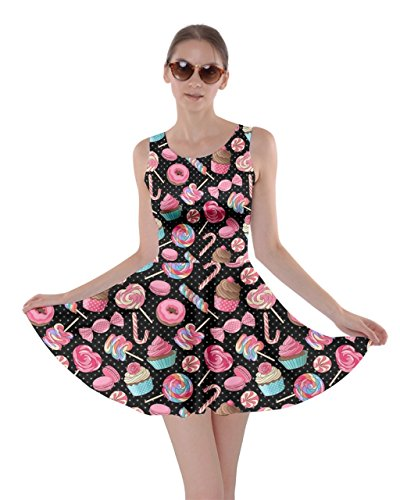 CowCow Womens Black Colorful Sweet Lollipop Candy Macaroon Cupcake Donut Skater Dress, Black - 5XL