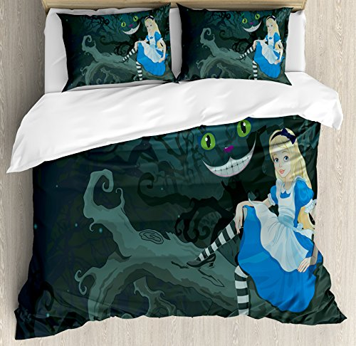 Ambesonne Alice in Wonderland Duvet Cover Set Queen