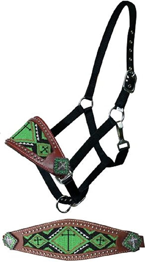 Showman Cowboy Knot Rope Halter w// TEAL Braided Noseband Accented w// Diamonds!!!