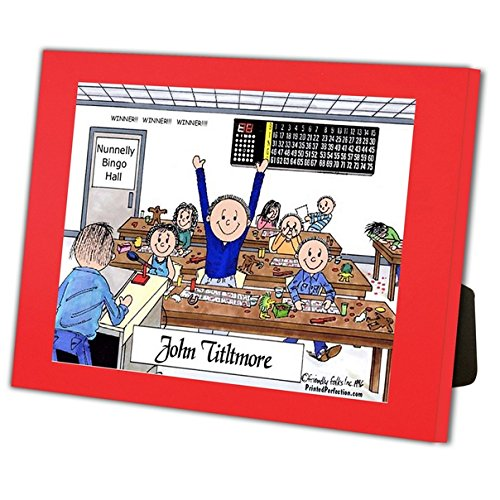 Personalized Friendly Folks Cartoon Caricature in a Color Block Frame Gift: Bingo Player - Male Great for bingo player, gambler by Printed Perfection