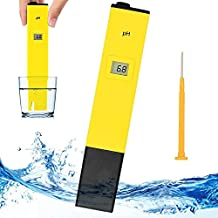 PH Meter - Pocket Size PH Meter, PH Tester for Household Drinking Water Hydroponics Aquariums Swimming Pools PH 0-14.0 Measuring Range 0.1PH Resolution by Bseen (Yellow)