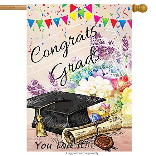 Wamika Congrats Grad Graduation Cap Diploma Double Sided House Flag Garden Banner 28