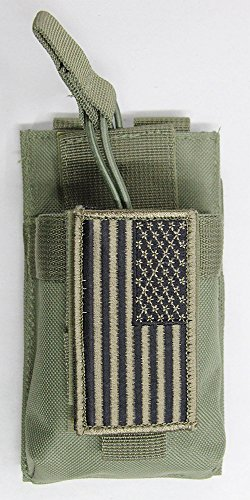 M1Surplus MOLLE Style Green Color Tactical Radio Pouch + PAT