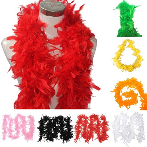 Feather Boa - For Halloween Costumes, Kids, Gifts, Props, Party Favors by Voberry (White)