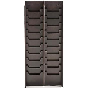 Displays2go Large Wall Mount Magazine Rack, 20 Pocket For Magazines,  Waiting Room/