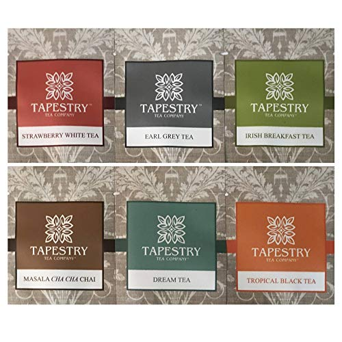 Tapestry Tea Company Variety Gift Tea Sampler Assorted Specialty Teas Gift Pouch and Coaster - 6 Pack ()
