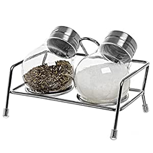 Set of 2 Lightbulb Style Clear Plastic Salt & Pepper Shaker, Condiment Container Spice Rack w/ Metal Caps
