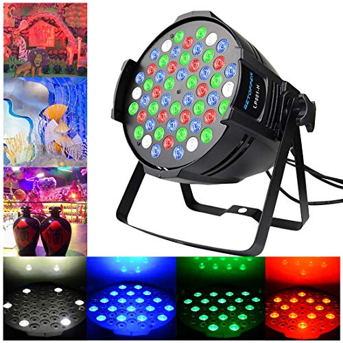 Betopper 180W Super Power DJ Par Light RGBW LED Stage Lighting 4/8 Channel DMX Daisy-Chain Can Lights Uplights for Home Party,Bar,Christmas Halloween Festival Events -
