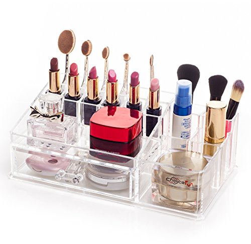 Choice Fun Acrylic All-in-one Makeup Organizer Cometic Display Case 15 Transparent QFJJSN-NSF-20142 (Exchange Ideas $25 Gift)