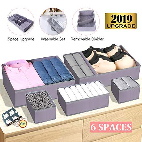 Drawer Organizer Clothes Dresser Underwear Organizer Washable Deep Socks Bra Large Boxes Storage Foldable Removable Dividers Fabric Basket Bins Closet T Shirt Jeans leggings Nursery Baby Clothing,Gray
