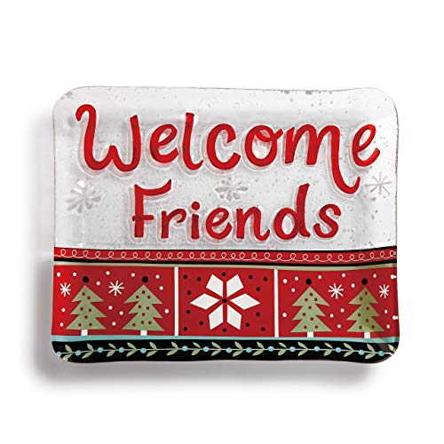 Welcome Friends Snowflake Rosy Red 14 x 11 Glass Christmas Rectangular Platter