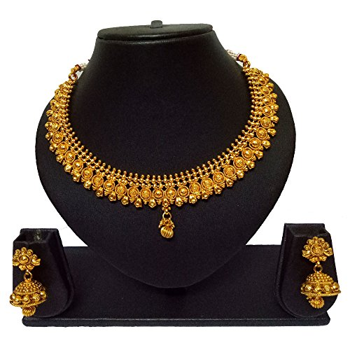 Pourni Short Necklace Set with Jhumka Earring Necklace Set For Women by Pourni