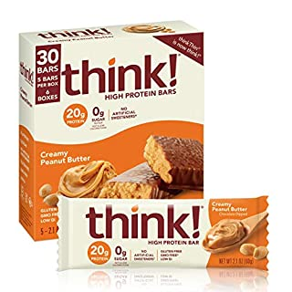 think! (thinkThin) High Protein Bars - Creamy Peanut Butter, 20g Protein, 0g Sugar, No Artificial Sweeteners, Gluten Free, GMO Free, 2.1 oz bar (30 Count - packaging may vary)