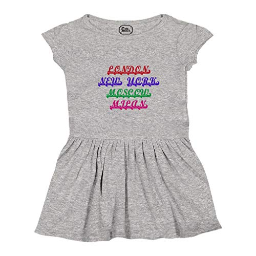 London New York Moscow Milan Short Sleeve Taped Neck Girl Cotton Toddler Rib Dress School Clothes - Oxford Gray, 5/6T