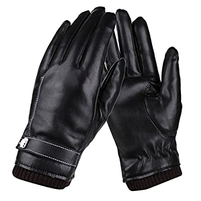 Womens Winter Gloves,Faux Leather Warm Touchscreen Texting Glovers with Touch Screen Fingers for Women (Black)