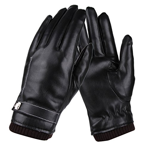 Womens Winter Gloves,Faux Leather Warm Touchscreen Texting Glovers with Touch Screen Fingers for Women (Black,M)