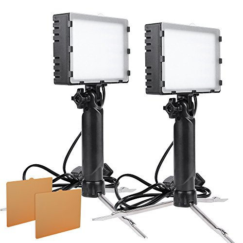 Hakutatz 2 Sets LED Portable Continuous Photography Lighting Lamp Light with Stand Kit for Table Top Photo Video Studio Light with Color (Small Sized Softboxes)