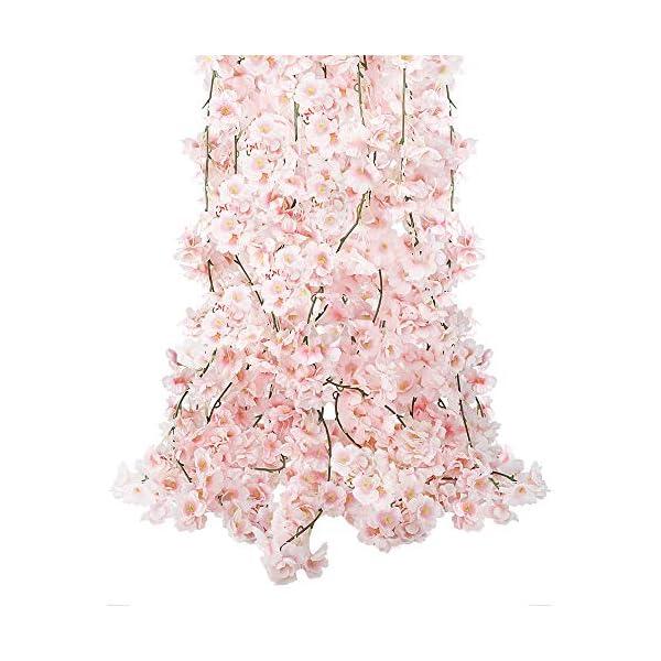 CEWOR 4pcs Artificial Cherry Blossom Flower Vines Hanging Silk Flowers Garland for Wedding Party Home Decor