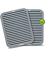 Walfos Silicone Trivets Set - Heat Resistant Pot Holder, Non-Slip and Flexible, 2 Pieces Multi-Purpose Kitchen Table Mat, Prefect for Hot Dishes, Jar Opener, Spoon Holder, Oven Mitts (Gray)