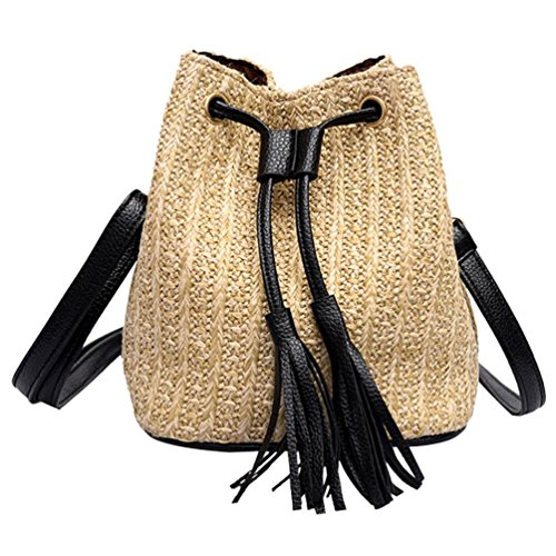 Shybuy Shoulder Khaki Crossbody Casual Bags Tassel Women's Buckets Bag Woven Straw Handbag 7q17Ur4