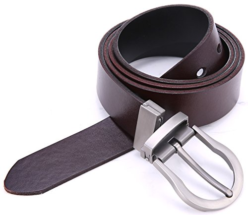 Marino's Men's Genuine Leather Reversible Brown/Black Belt with Removable Scratch Resistant Buckle - Style4 - Custom: Up to 44