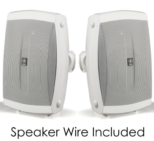 Yamaha All Weather Indoor & Outdoor Wall Mountable Natural Sound 120 watt 2-way Acoustic Suspension Speakers (Set of 2) White with 5'' High Compliance Woofer, 1/2'' PEI Dome Tweeter & Wide Frequency Response - Compatible with All Audio / Video Receivers, Co by YAMAHA