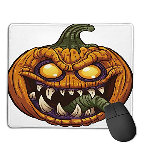 Comfortable Mouse Pad Quality Selection,Halloween,Scary Pumpkin Monster Evil Character with Fangs Aggressive Cartoon,Purple Orange Dark Green,Consoles More Enjoy Precise & Smooth Operating Experienc]()