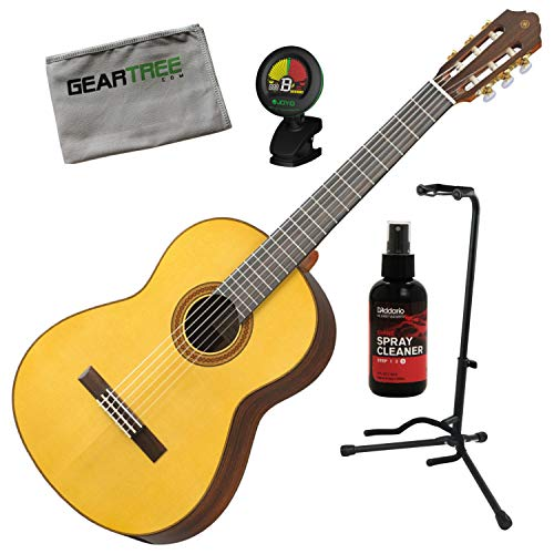 Yamaha CG182S Natural Spruce Top Acoustic Classical Guitar w/Polish, Stand, Clo - Yamaha Stand Classical