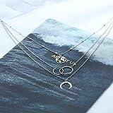 Edary Boho Layered Necklace Moon Necklaces Map