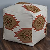 Rizzy Home POFP10386NTRU0002 Southwest Motif Pattern Square Pouf,Natural