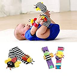 Baby Gift Registry By Parents Name 014 Infant Baby Wrist Watches Foot Socks Rattles Cute Bug Finders Christmas Toy(1 Set of 4 PCS (Socks+wrist)