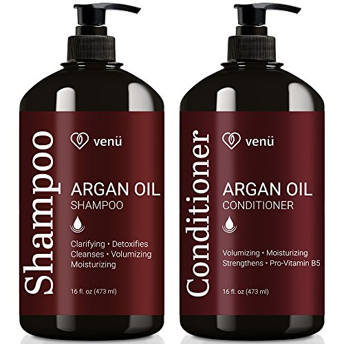 Argan Oil Shampoo and Conditioner Set .Restorative, Volumizing and Moisturizing For All Hair Types Essential Oils Formula -Sulfate Free- Safe for Color Treated, and Curly Hair by Venu (2 x 16 Fl Oz)