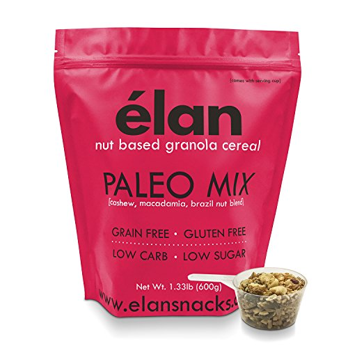 - ELAN Grain Free Paleo Granola - Low Net Carb Ketogenic Diet Cereal - Natural Gluten Free Salt Free Breakfast, Low Glycemic Food (Cashew, Brazil Nut, Macadamia Nuts, 1.33lb Bulk Bag)