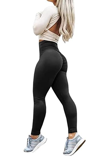 aeb5920920d DATANE Sexy Butt Lift High Waist Slimming Leggings Ruched Activewear Yoga  Pants Skinny Tights Black at Amazon Women s Clothing store