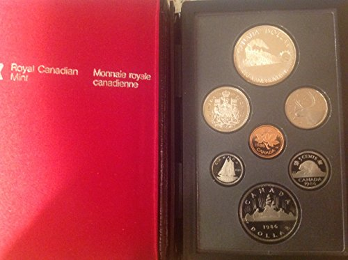 CA 1986 1987 Royal Canadian Mint Proof Set with Maple Leaf Hard Cover Case PR1 Canadian Mint Coin Set