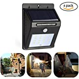 Aufitker Solar Wall Light,16 Bright LEDs Wireless Solar Powered Light With Motion Sensor Light, Auto On/Off for Outdoor Garden Driveway Stairs(4 Pack)