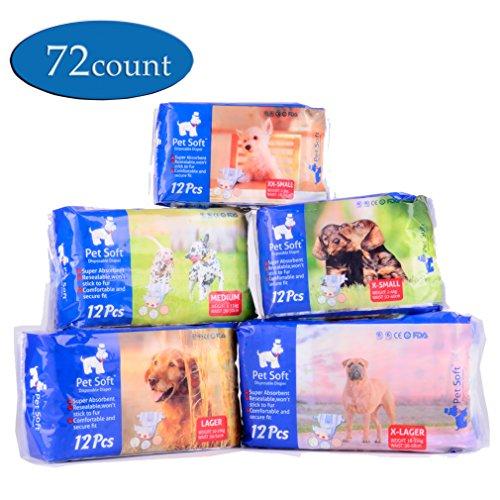 Pet Soft Pet Disposable Female Puppy Dog Diaper,72 Count , XXS
