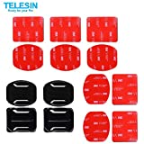 TELESIN 2 Curved Mounts + 2 Flat Mounts + 10pcs 3M Adhesive Stickers for Gopro Camera