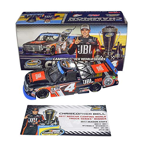 - AUTOGRAPHED 2017 Christopher Bell #4 JBL Toyota Racing CAMPING WORLD TRUCK SERIES CHAMPIONSHIP WINNER Rare Signed Lionel Collectible 1/24 NASCAR Diecast with COA (#393 of only 889 ever produced!)