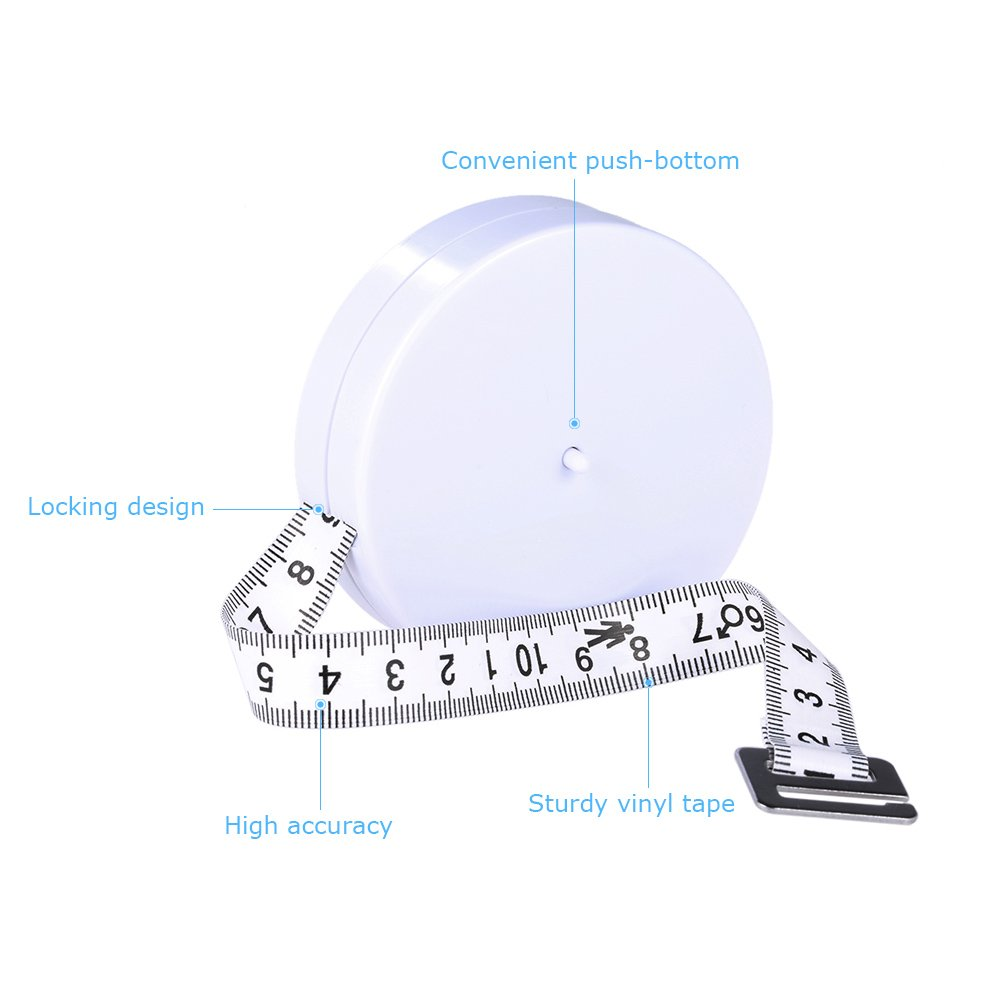Anself Body Tape Measure Body Fat Measuring Tape Locking Pin and Push-Button Retraction Accurate Tape Measurement